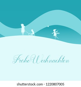 Vector Illustration: Elegant Christmas Greeting Card, Family with Sled in Winter Nature. Text in German: Frohe Weihnachten, English Translation: Merry Christmas.