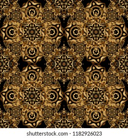Vector illustration. Elegant golden ornament with gold stars, filigree decor on ornate black background. Luxury floral seamless pattern, button-tufted texture, ornate elements in vintage style.