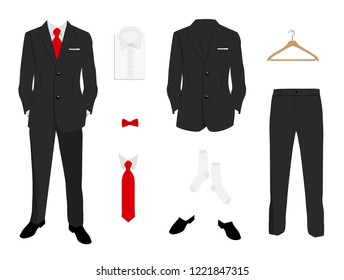 Vector illustration. Elegant  men fashion, suit uniform with jacket, pants, shirt and shoes isolated on white