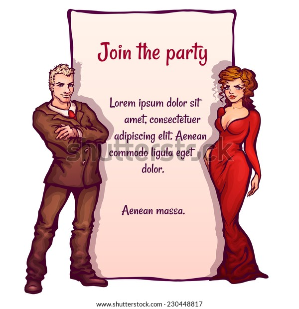 Vector illustration of elegant party invitation with man and woman.