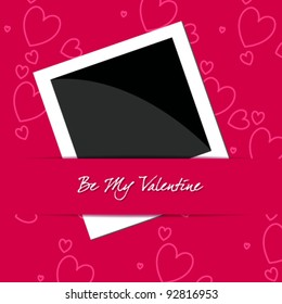 Vector illustration of elegant, stylish, romantic Valentine's Day card with photo frame