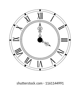 Vector illustration elegant wall clock with vintage hour hand isolated on white background. Clock on wall shows Four o'clock. Roman numeral clock