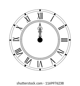 Vector illustration elegant wall clock with vintage hour hand isolated on white background. Clock on wall shows Twelve o'clock. Roman numeral clock