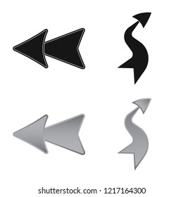Vector illustration of element and arrow icon. Set of element and direction stock symbol for web.