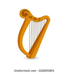 Vector illustration. Element of a holiday. Golden harp, St. Patrick's Day holiday