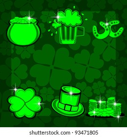 vector illustration of element set with bright color son St. Patrick's Background.