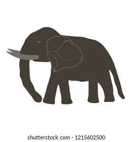 Vector illustration of elephant gray, handmade, artistic, on a white background. Cute horizontal postcard template design.