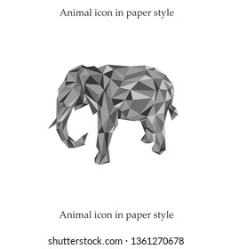 Vector illustration of a elephant in paper style which can be used for web design, logo, application icon