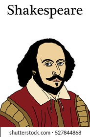 A vector illustration of the Elizabethan writer, William Shakespeare.
