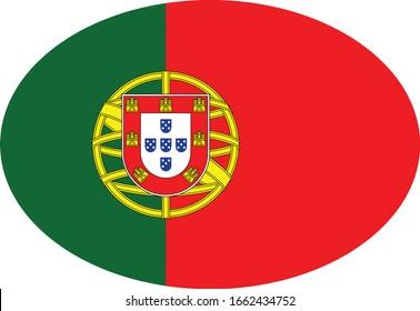 vector illustration of Ellipse Flag of Portugal