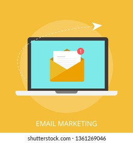 "Vector illustration of email marketing & communication concept with ""email marketing"" digital advertising and media sign."