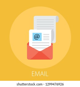"Vector illustration of email marketing & message concept with ""email"" send message and message notification sign."