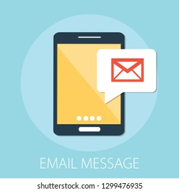 "Vector illustration of email marketing & message concept with ""email message"" send message and message notification sign."
