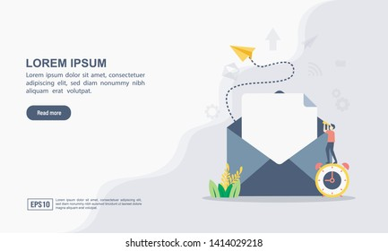 """Vector illustration of email marketing & message concept with """"email"""" send message and message notification sign"""