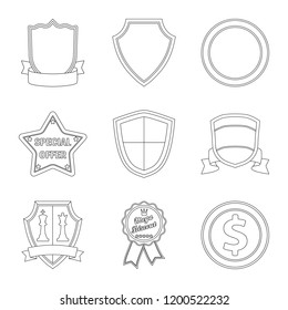 Vector illustration of emblem and badge sign. Collection of emblem and sticker vector icon for stock.
