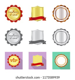 Vector illustration of emblem and badge symbol. Set of emblem and sticker stock vector illustration.