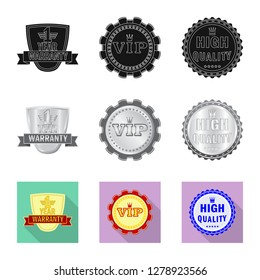 Vector illustration of emblem and badge symbol. Collection of emblem and sticker stock symbol for web.
