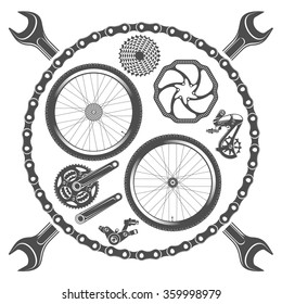 vector illustration emblems bike repair on a white background / bicycle parts isolated on white background