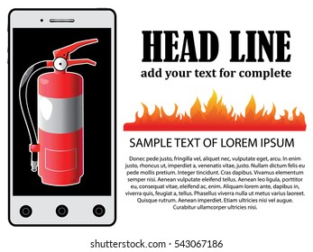 Vector illustration of emergency call with fireman on mobile telephone in trendy flat style