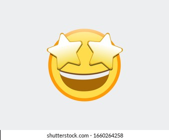 Vector illustration of emoji star struck