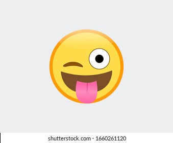 Vector illustration of emoji winking face with tounge