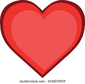 Vector illustration of emoticon in the shape of a red heart