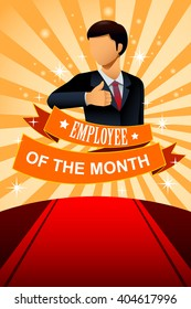 A vector illustration of employee of the month poster frame design