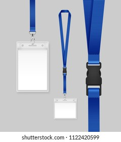 Vector illustration of employees identification card on blue lanyards, cord and strap with metal clips. Realistic set plastic badges samples for presentation or conference visitors, press, media