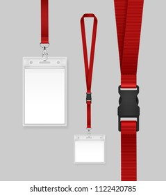Vector illustration of employees identification card on red lanyards, cord and strap with metal clips. Realistic set plastic badges samples for presentation or conference visitors, press, media
