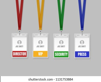 Vector illustration of employees identification card on color lanyards, cord and strap with metal clips. Realistic set plastic badges samples for presentation or conference visitors, press, media