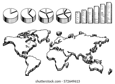Vector illustration of empty 3D world map with pie and column charts in hand-drawn vintage style.