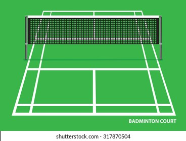 Vector illustration of an empty badminton court with net in the middle