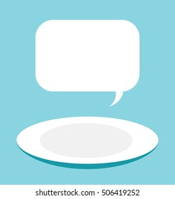 Vector illustration of the empty ceramic plate on the blue background. Big copy space in the text box on the top of the image.