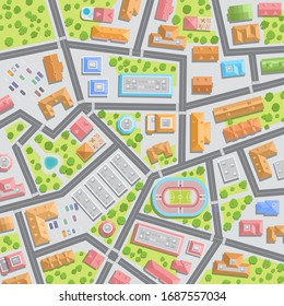 Vector illustration. Empty city streets in quarantine. Top view. Coronavirus. There are no people on the street. View from above. COVID-19.