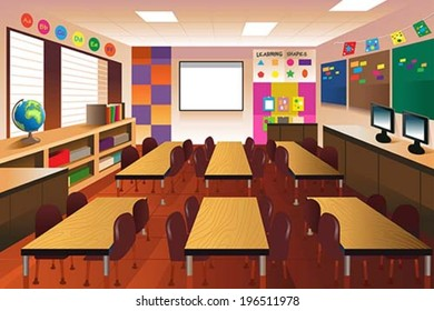 A vector illustration of empty classroom for elementary school