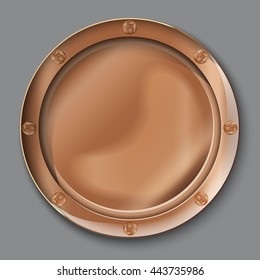 Vector illustration of empty copper plate. top view. on grey background.