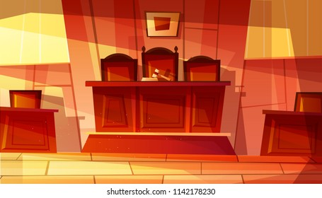Vector illustration of empty courthouse interior with furniture. Court hearing room cartoon background of judge gavel on table and prosecutor or accused defendant dock