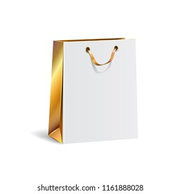 Vector illustration of empty gift paper shopping bag with gold ribbon. White and gold color. Isolated on transparent background. Luxury, festive carton package. Realistic mock up for your design