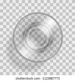 Vector illustration. Empty glass on a transparent background. Top view.