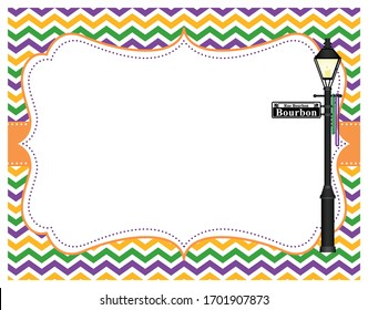 A vector illustration of an empty Mardi Gras frame with a Bourbon Street lamp post and purple, gold and green chevron pattern