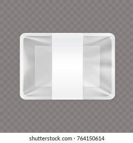 Vector illustration of an empty plastic food container isolated on a transparent background. Blank food and snack packaging, mock up template design ready for branding.