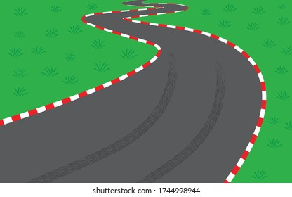 Vector illustration of empty road race track. Winding asphalt road with brake marks surrounded by white and red safety barriers. Skid marks on curve.