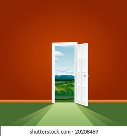 vector illustration of the empty room with landscape
