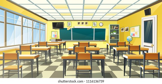 Vector illustration of an empty school classroom interior with a chalkboard on the yellow wall and desks on checkered floor