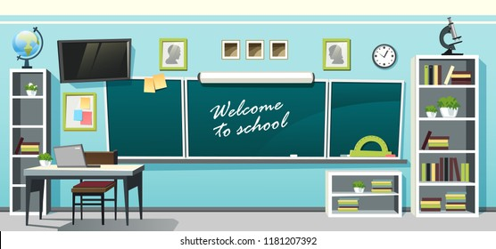 Vector illustration of an empty school classroom interior with a chalkboard on the blue wall and desks on checkered floor