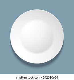 Vector illustration of empty white plate. top view. on blue background.