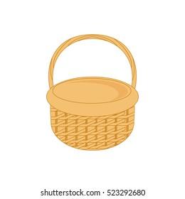 Vector illustration empty wicker basket icon, symbol isolated on white background.