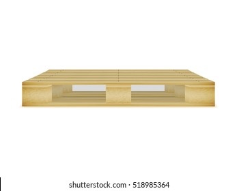 Vector illustration of an empty wooden pallet. Picture, image isolated on white background. The pallet for the carriage, cargo transportation.