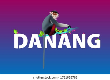 Vector illustration of endangered  red-shanked douc langur monkey. The monkey is sitting on inscription Danang a branch in the wild. Animal protection and rescue Vietnam and Asia