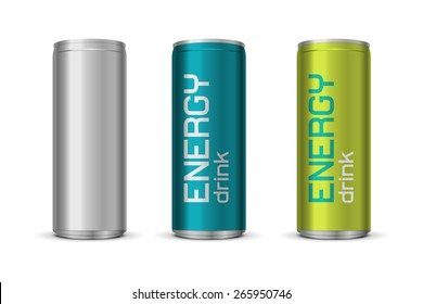 Vector illustration of energy drink cans in different colors, isolated on white background